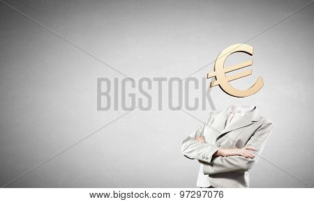 Businesswoman with  euro sign instead of head