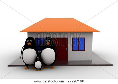 3D Penguin Family With House Concept