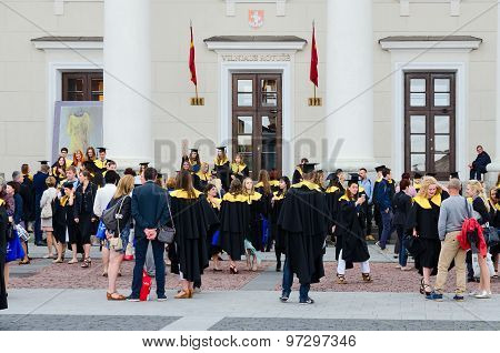 Graduates Of European Humanities University After Official Graduation Ceremony Near Town Hall, Vilni