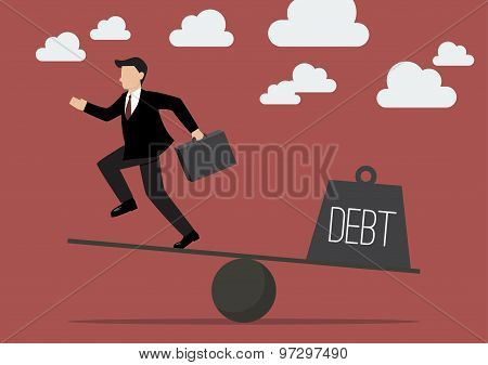 Balancing. Businessman And Debt