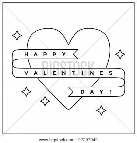 Valentine's Day greeting card in linear style