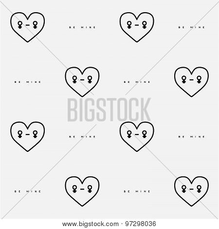 St. Valentines Day seamless pattern with heart character