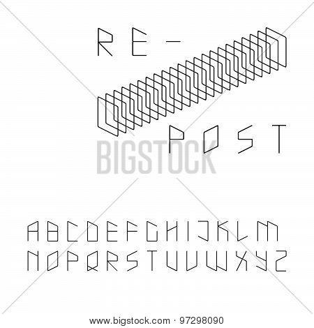 Modern zip code style sans serif font