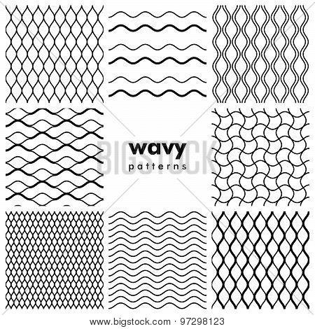 Set of wavy seamless patterns