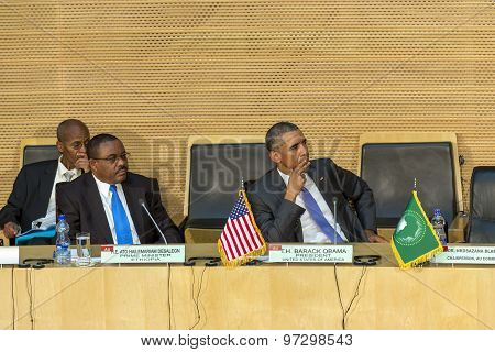 U.s. President Barack Obama Makes His First Presidential Visit To Ethiopia And African Union Commiss