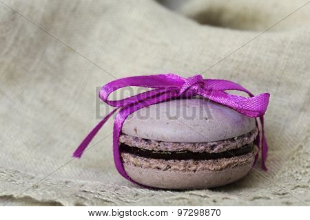 French dessert almond colorful  biscuit macaroon currant, purple
