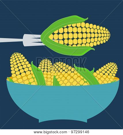 Ears Of Corn, Blue Plate Concept.