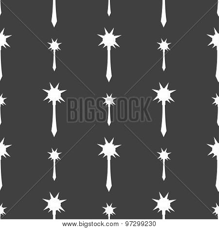 Mace Icon Sign. Seamless Pattern On A Gray Background. Vector