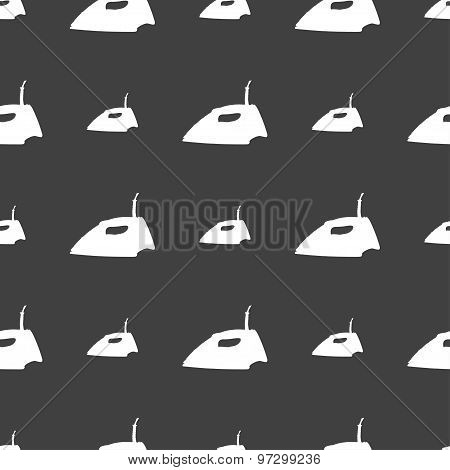 Iron Icon Sign. Seamless Pattern On A Gray Background. Vector