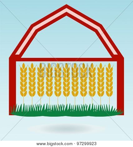 Wheat Ears, Barn House. Crop Symbol. Design Element For Bread Packaging Or Beer Label. Agricultural.