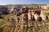 picture of semi-arid  - Sandstone formations along the canyon walls in Colorado National Monument as seen from Rim Rock Drive - JPG