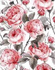 image of english rose  - Classical vintage floral seamless pattern - JPG