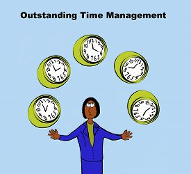 picture of juggling  - Business cartoon showing a black businesswoman juggling five clocks and the words - JPG
