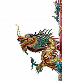stock photo of dragon  - Chinese dragon religious statue isolated on white background - JPG