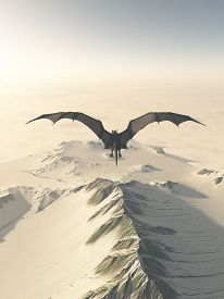 stock photo of dragon  - Fantasy illustration of a grey dragon flying over a snow covered mountain range - JPG