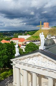 stock photo of stanislaus church  - Vilnius the view from the observation deck of the bell tower at the Cathedral of St - JPG