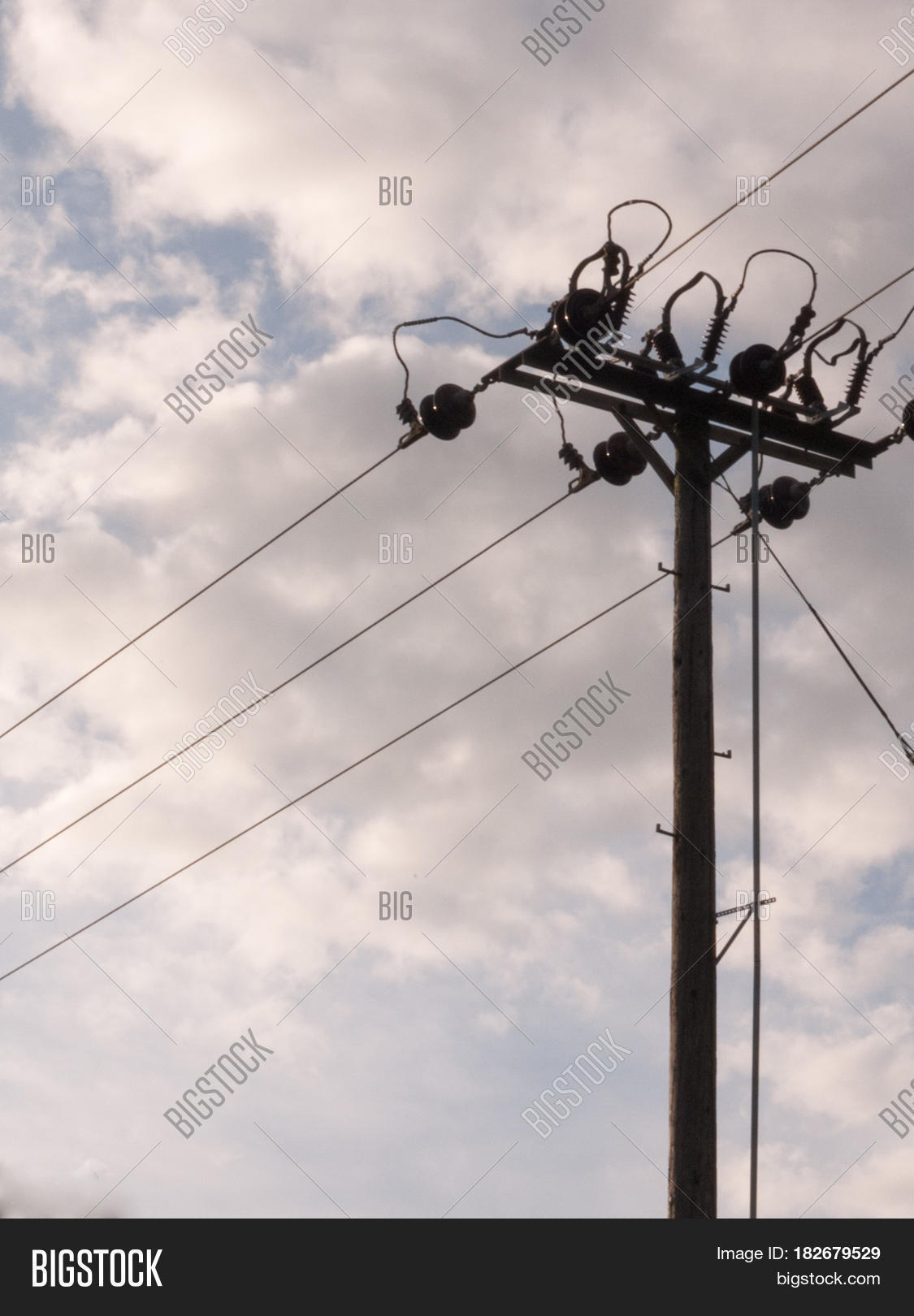 Overhead Electrical Wire Post Metal Image & Photo | Bigstock