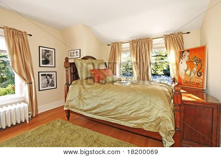 Antique Bedroom With Green Silky Bed