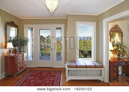 Entrance With Beautiful View And Antique Furniture
