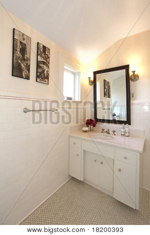 Antique Bathroom With White Tiles