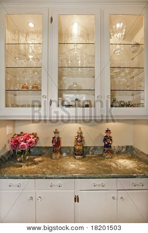 Luxury White Cream Glass Cabinet