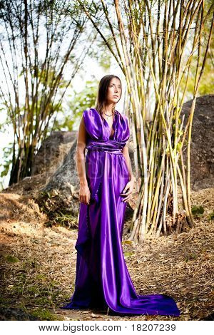 Beautiful young woman in purple long dress. Bamboo grove. Thailand