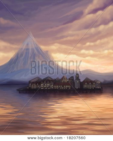 Sunset Landscape With Lake, Mountain And Town On Water, Digital Painting