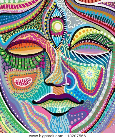Abstract Woman Face With Multicolored Indian Pattern