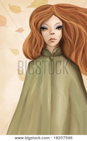 Portrait Of Beauty Redhead Woman With Long Hair And Coat, Digital Painting