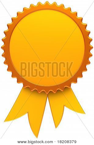 Award ribbon golden blank