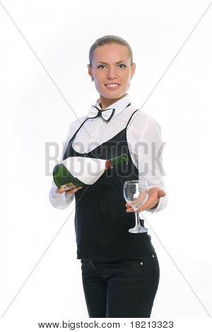 Waitress Serving Wine