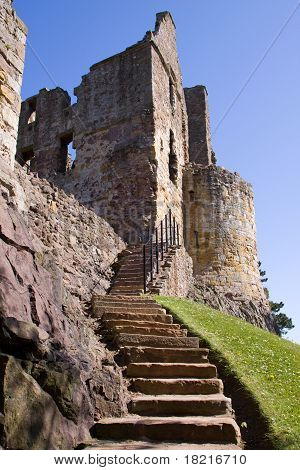 Dirleton Castle, East Lothian, Scotland was founded as a medieval fortress by the de Vaux family aro