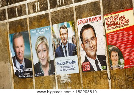 Benon France- April 18 2017 : Campaign posters for the 2017 french presidential election in a small village