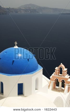 Greek Island Church Over Sea
