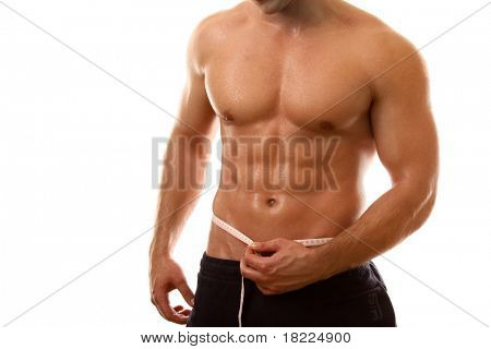 a semi-nude bodybuilder with a measuring tape around his waist