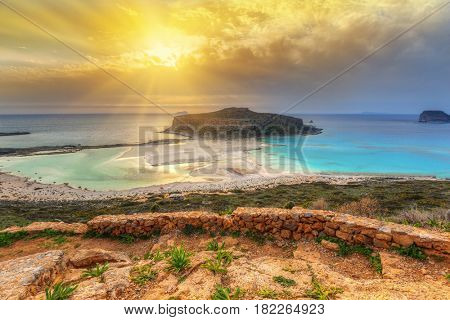 Sunset over amazing Balos beach on Crete, Greece
