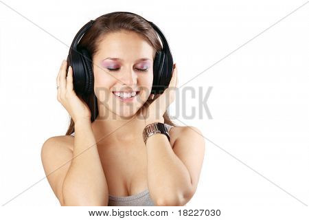 girl in headphones on the