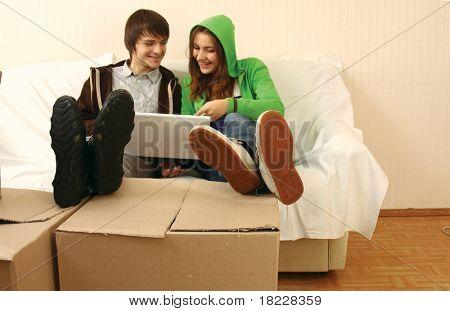 Box people. Work on laptop