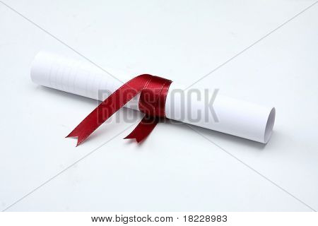 University diploma isolated on white