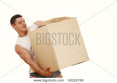 Isolated young delivery man