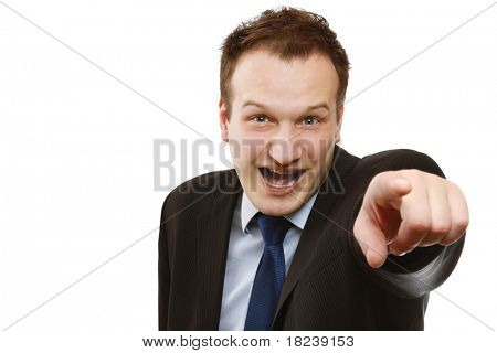 Closeup of a businessman pointing at you