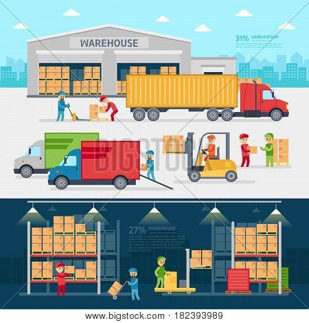 Warehouse infographic elements vector flat design. People sort items and send them to the consumer of service delivery.