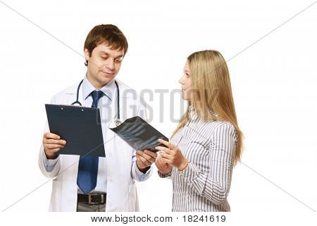 A doctor and a patient holding an x-ray picture