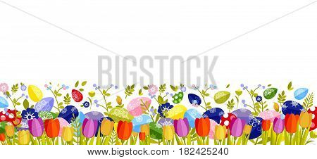 Stock vector isolated illustration Happy Easter background colored eggs, spring decoration, leave, tulip flower design element in flat style for printed material, greeting, festive card banner, flyer