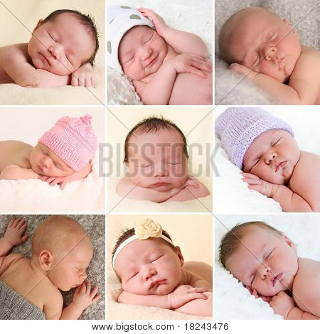 A collection of newborn baby faces. Boys and girls. All images also available in high resolution.
