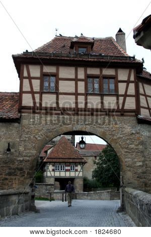 City Wall Of Rothenburg Ob Der Tauber, Medieval Old Town In Germany