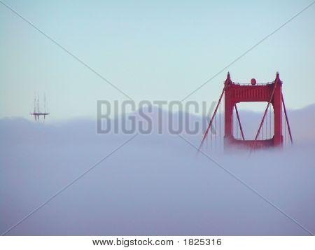 Golden Gate Tower In Fog