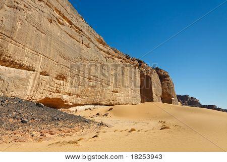 Massive Rock Wall - Akakus (acacus) Mountains, Sahara Desert, Libya
