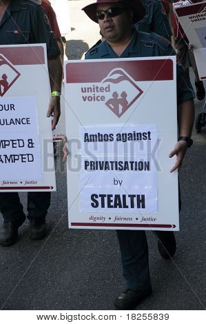 Brisbane, Australia - May 2 : Labour Day Street March Protesting Ambos Rigths And Privatisation  May