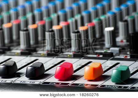Sliders And Buttons Of A Sound Mixer